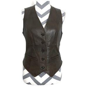 Cabi Leather Button Down Vest
